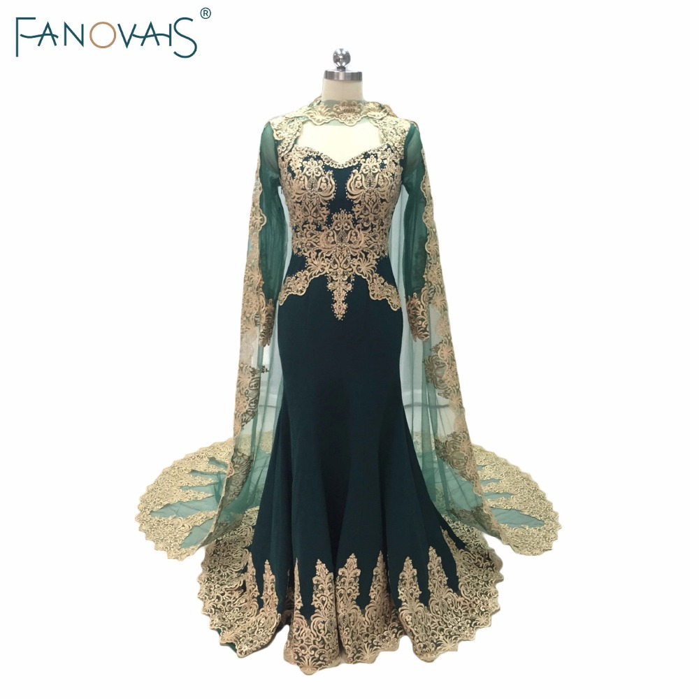Green Mermaid   Evening   Gowns With Cape 2019 Kafatan Lace Robe de Soiree Muslim Gold Embroidery   evening     dress   with long sleeves
