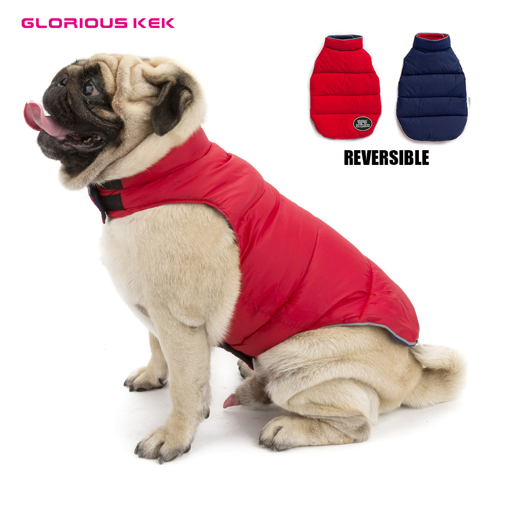 GLORIOUS KEK Pet Dog Clothes Winter Reversible Dog Coat Waterproof Thick Jacket for Small Medium Large Dog Warm Puppy Vest S-5XL