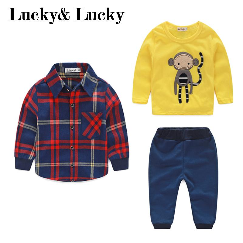 Baby boy clothes monkey cotton t-shirt +plaid outwear+casual pants newborn boy clothes baby clothing set fashion baby girl t shirt set cotton heart print shirt hole denim cropped trousers casual polka dot children clothing set