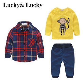 Erkek bebek giysileri maymun pamuk t-shirt + ekose dış giyim + rahat pantolon yenidoğan erkek giysileri bebek giyim seti