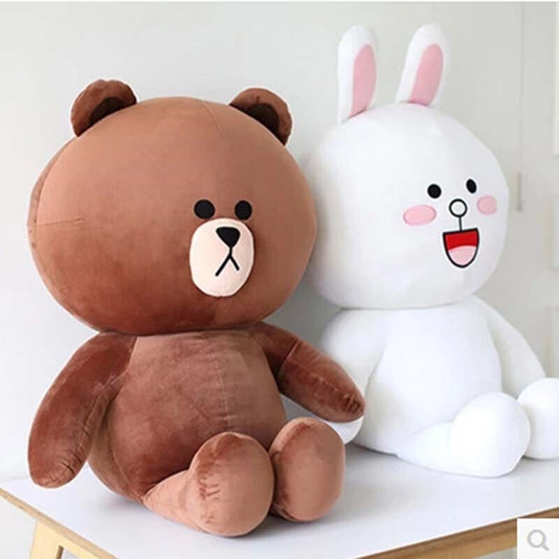 2pcs/lot Cute Korea Brown bear Cony rabbit plush soft stuffed doll for girlfriend School title=
