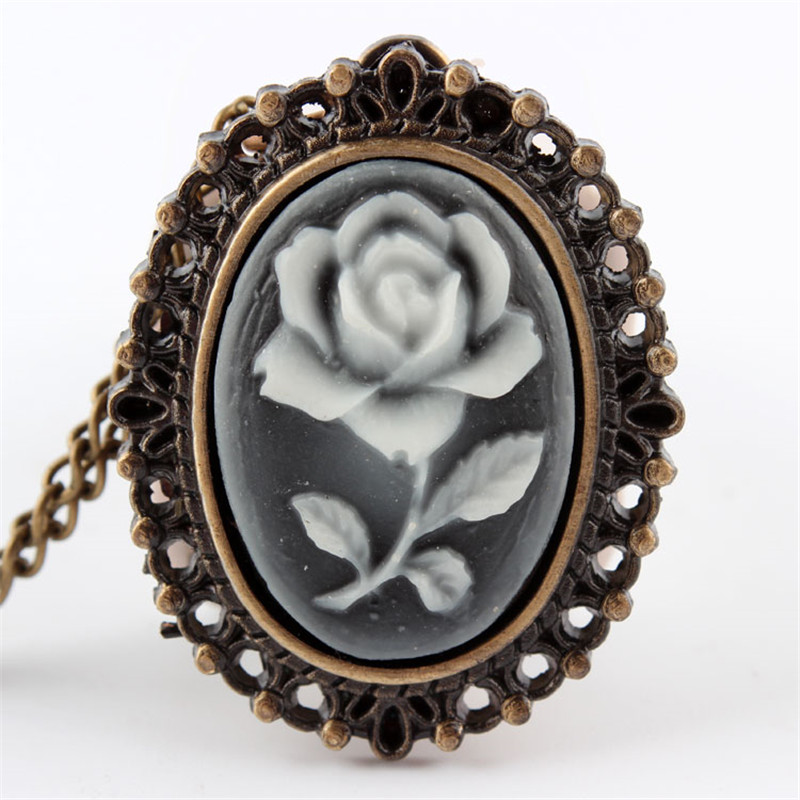 Pocket Watch Retro Rose Beauty Lady Butterfly Bronze Retro Necklace Sweater Necklace Pendant Dress 86 Women  Free Shpping