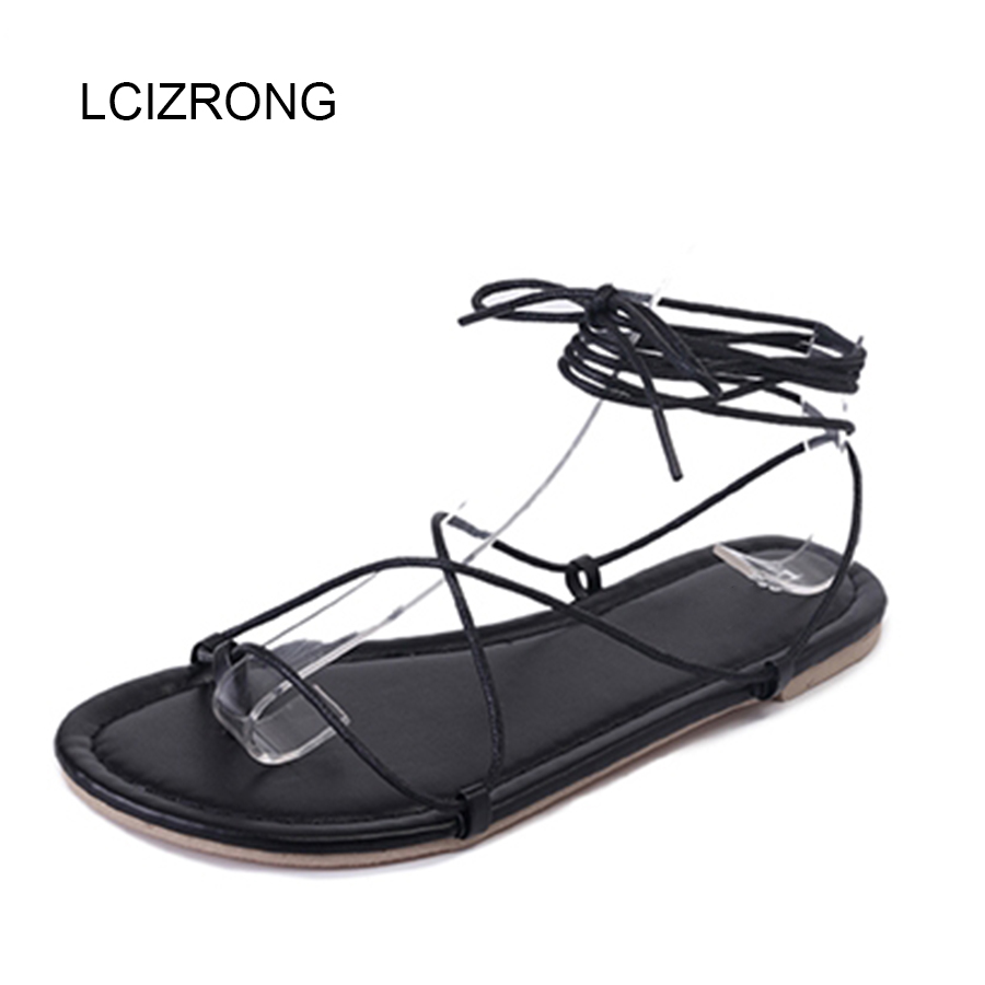 LCIZRONG Fashion Gladiator Women <font><b>Sandals</b></font> Black Solid Holiday Casual Beach <font><b>Flat</b></font> Shoes Light Non-slip <font><b>Sexy</b></font> Rome <font><b>Sandals</b></font> Female image