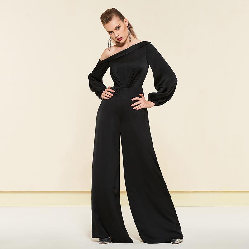 Tanpell one shoulder evening dress black full sleeves floor length a line gown lady cocktail party