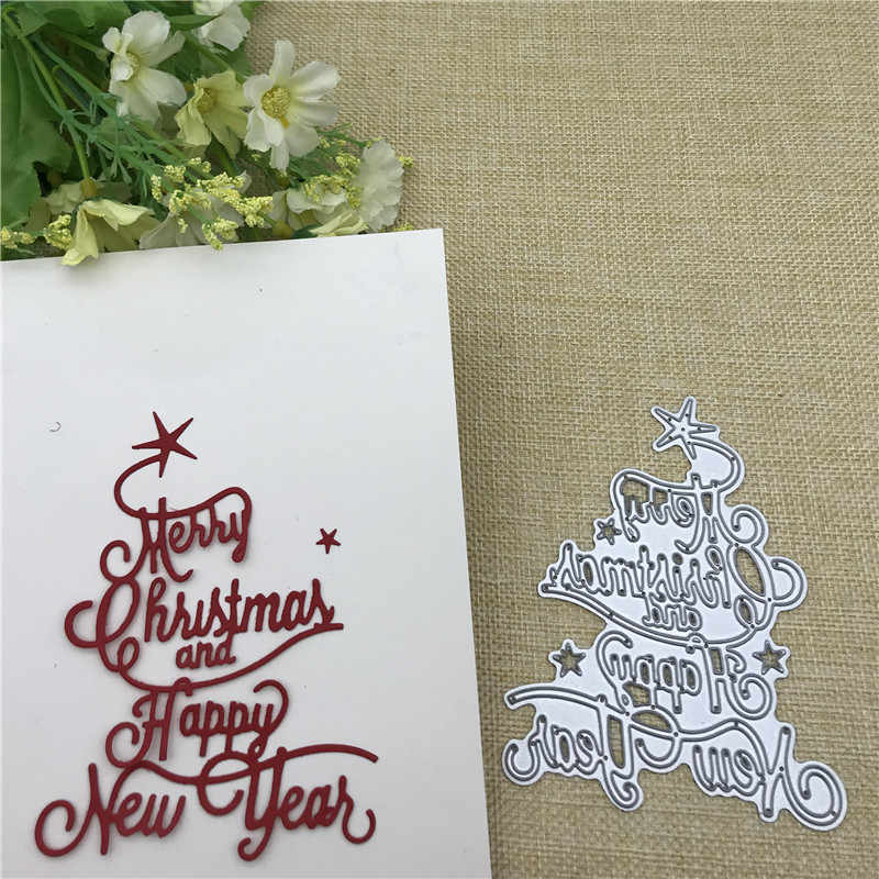 Merry Christma HAPPY NEW YEAR  Metal Dies Scrapbooking Metal Cutting Dies Craft Stamps die Cut Embossing Card Make Stencil Frame