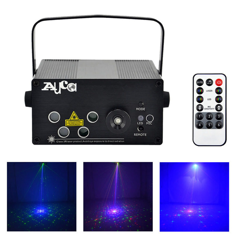 AUCD Mini Remote 96 Patterns RGRB 4 Laser & BLUE LED Mix Effects Stage Lighting Club Home Party Show Wedding Xmas Lights L96RGRB aucd mini remote music 5 lens 80 patterns red green laser mix blue led stage lighting dj bar show xmas home party light z80rgrg