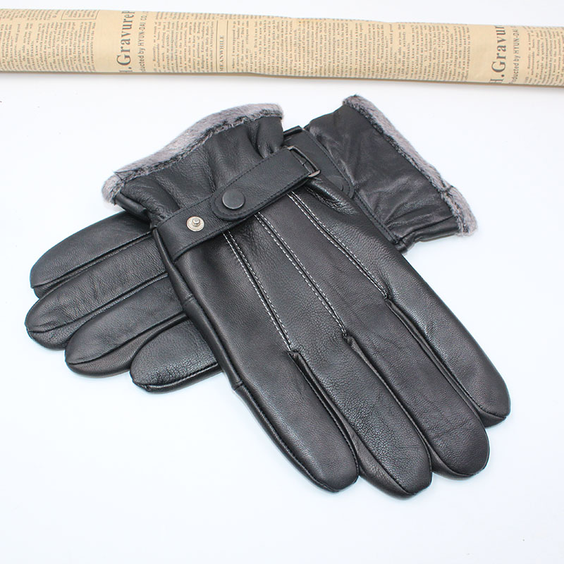 2019 New Autumn Winter Warm Genuine Leather Gloves For Men Male Outdoor Real Sheepskin Leather Gloves Mens Classic Button Mitten
