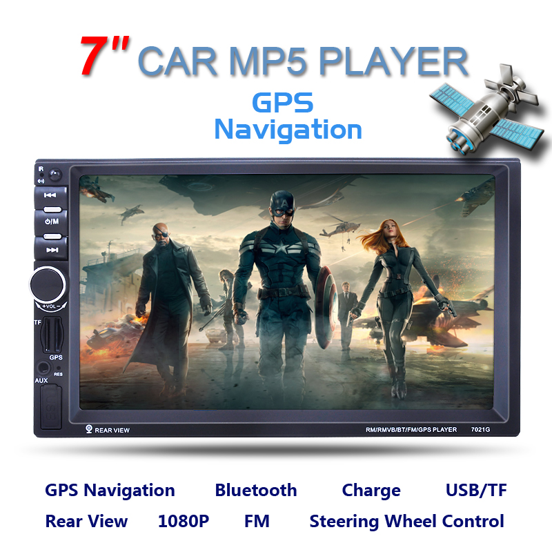 все цены на  7inch 2 Din HD Car Radio MP5 Player With Digital Touch Screen Bluetooth USB/TF/FM DVR/Aux Input Support Handsfree Car Charge GPS  онлайн