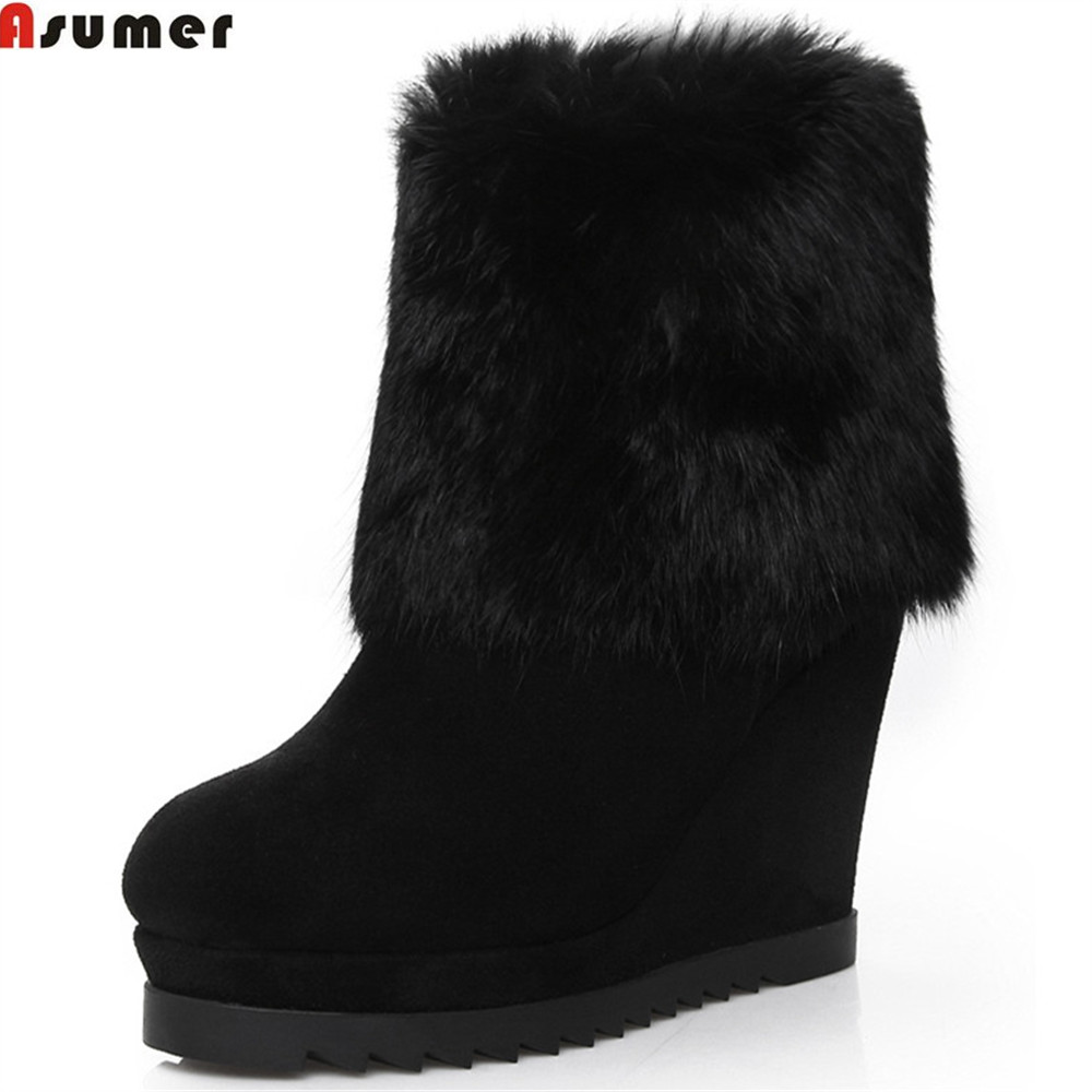 ASUMER 2018 fashion new arrive women boots round toe ladies cow suede boots zipper black platform leather wedges ankle boots new arrival women genuine leather flat ankle boots fashion round toe lace up ankle boots for women ladies casual cow suede boots