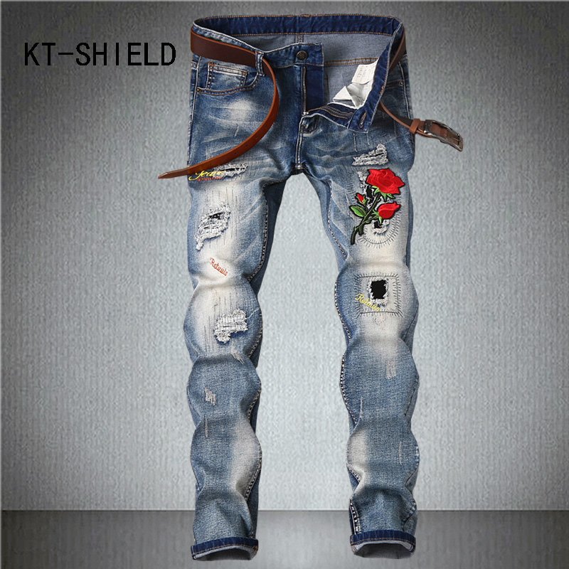 skinny denim jeans mens Luxury brand embroidery ripped casual harem pants Hip hop biker homme trousers pantalon vaquero hombre biker jeans mens brand black skinny ripped zipper full length pants hip hop cotton denim distressed pantalones vaqueros hombre