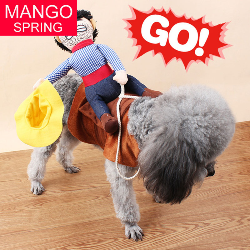 Riding Horse dog costume with cowboy hat for small dog large dog pet cat funny golden retriever Halloween Party custome clothes