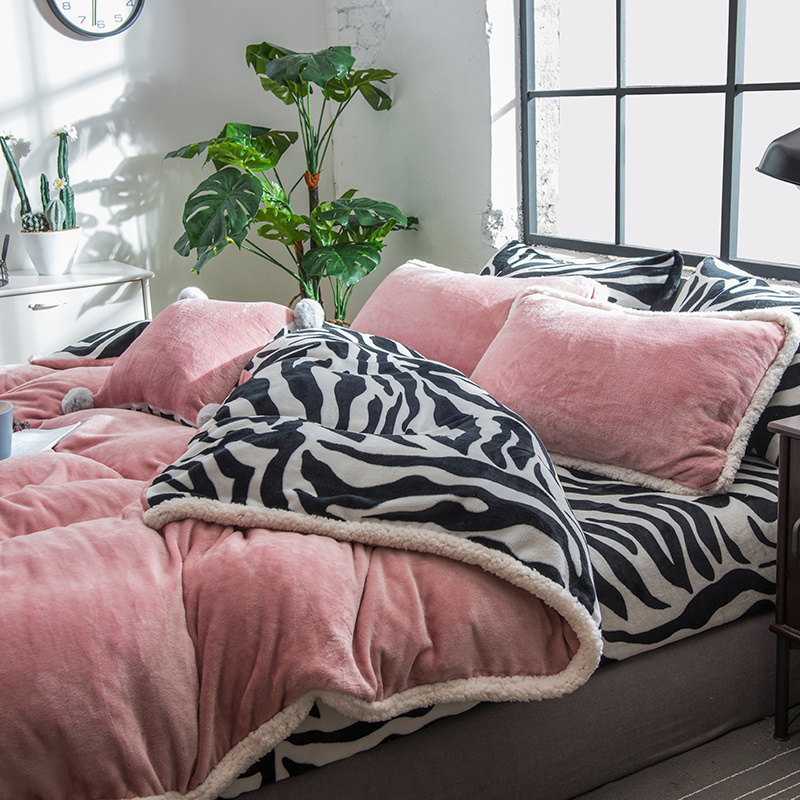Розовая, серая, фиолетовая, зеленая флисовая ткань, Комплект постельного белья, бархат, фланель, пододеяльник, черный, белый, с рисунком зебр... - 4