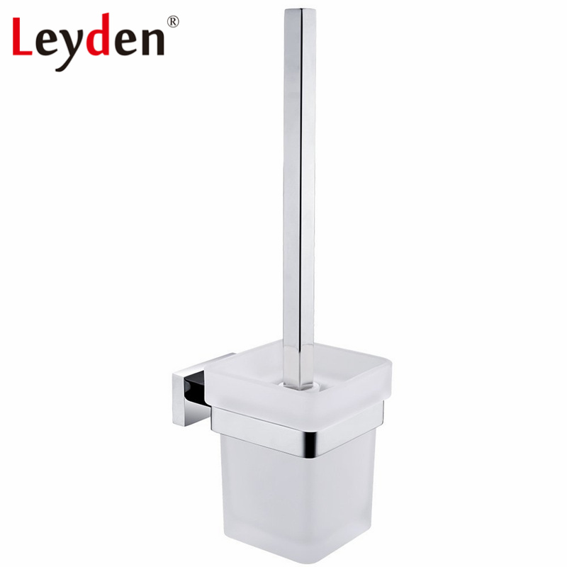 Leyden Square Toilet Brush Holder Stainless Steel Toilet Brush Holder Wall Mounted Chrome WC Brush Holder