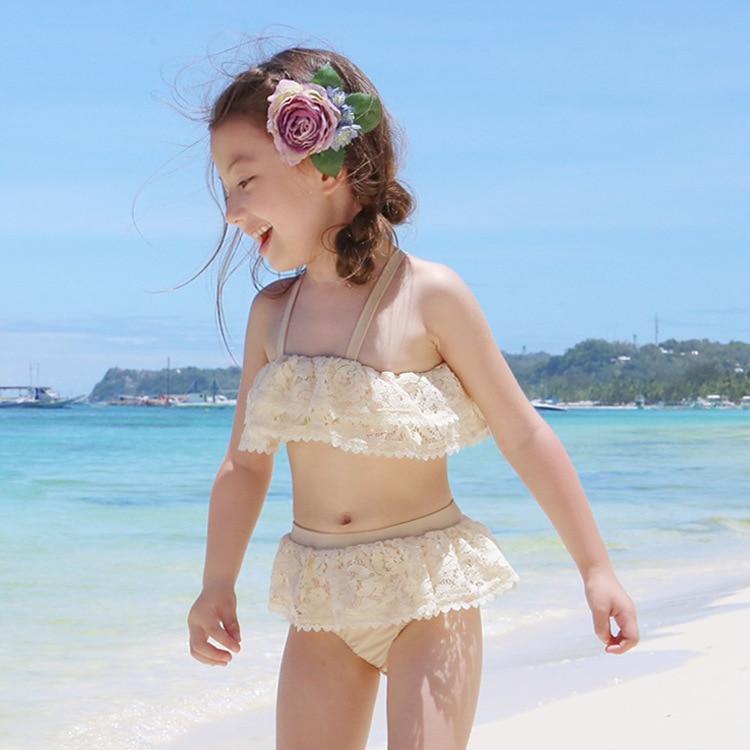 2018 Новое поступление детский купальник кружева 2 шт. принцессы бикини с крышкой морской пляж наружное спортивный дайвинг oversize S85809Y