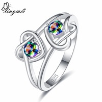 lingmei Fashion Lover Jewelry Wedding Bridal Rainbow & White & Blue Cubic Zircon Silver Ring Size 6 7 8 9 Christmas Gifts