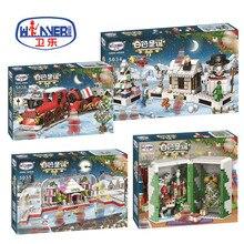 2018 New Christmas Sets Gift Box Crystal Box Santa Village Train Compatible Legoing Model Building Kits Blocks Bricks Kids Toys