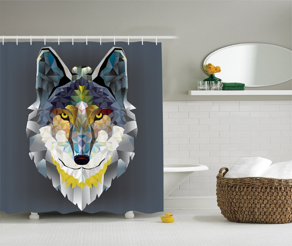 Multi-color optional Shower Curtain Colorful Artistic Coyote Wolf Beast Painting Polyester Fabric Bathroom Set Grey Navy Yellow