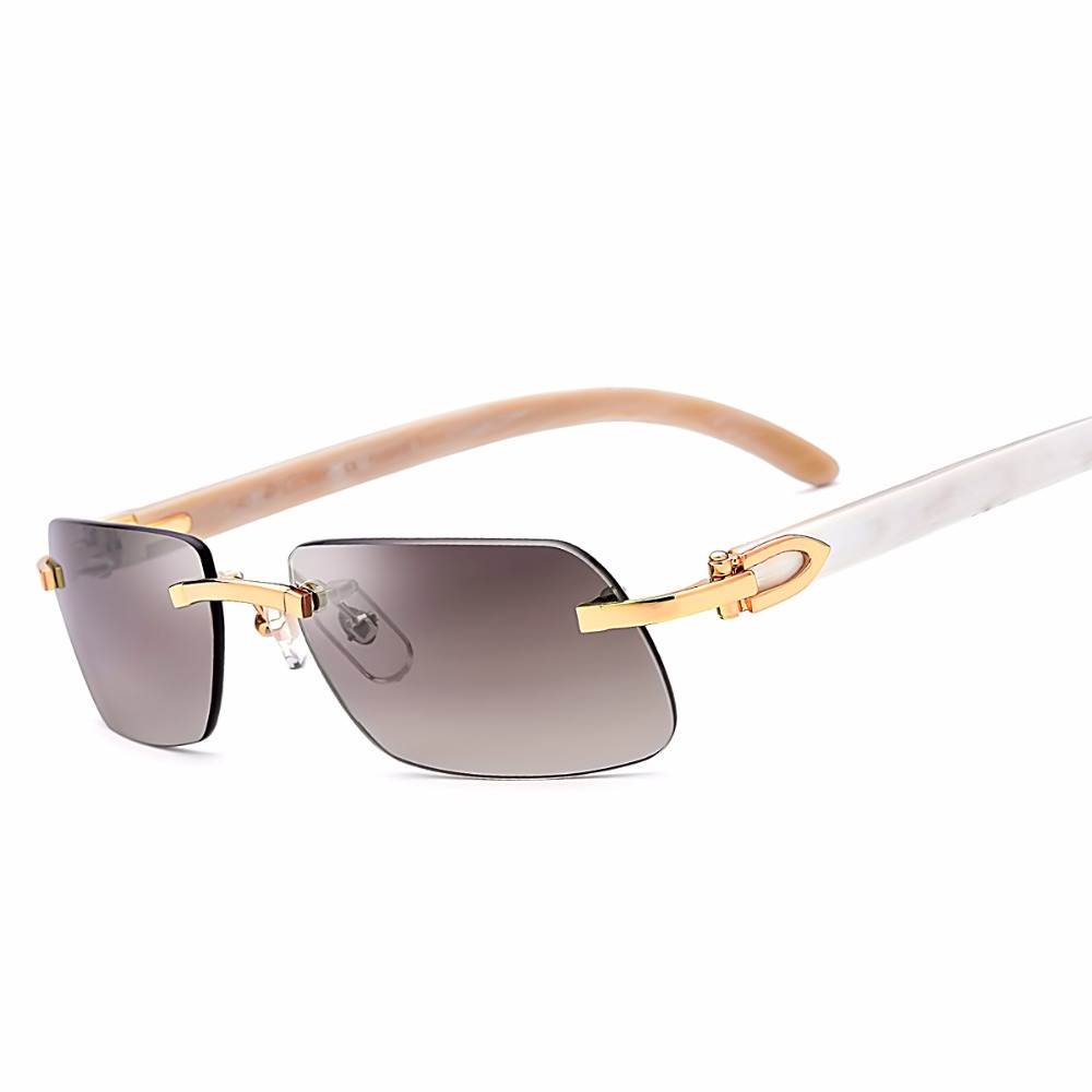 With Original Logo Box Really Buffalo Horn Carter Glasses Frame Women Rimless Sunglasses New Men Square Sunglass Luxury Eyewear