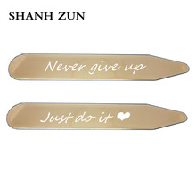 SHANH ZUN 2 Pcs Stainless Steel Collar Stays Bones for Mens Dress Shirt Engraved Collar Tabs Never Give Up Just Do It  5 Colors shanh zun personalized customize engraved stainless steel metal collar bones shirt tabs stiffeners inserts golden gift for men