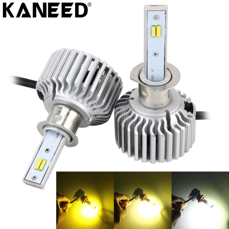Kit de ampoule LED KANEED h3 2 pièces 26 W 2250LM LED de phare de voiture puce LED COB intégré et fonction CANBUS
