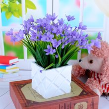 1Bunch Artificial Plastic Orchid Plant Fake Silk Flower Wedding Flower Arrangement Home Decoration(China)