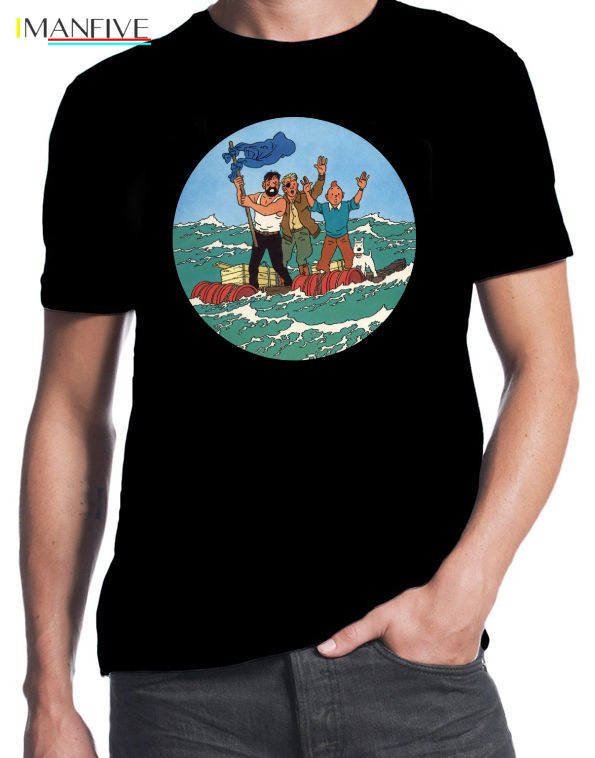 Tintin And Red Sea Sharks Classic Retro Adventure Funny Comic Book Black T Shirt in T Shirts from Men 39 s Clothing