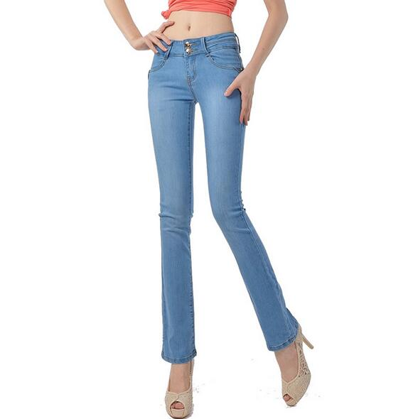 High Quality Autumn Jeans Women elastic bell-bottom female Flares pants long boot cut Denim trousers T683 women jeans autumn new fashion high waisted boyfriend street style roll up bottom casual denim long pants sp2096