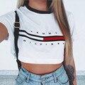 Hot Sale 2017 Verão Mulheres T camisa S-XL Carta Moda impressão Camiseta Mulher Tops T Ocasional de Manga Curta T-shirt Das Mulheres