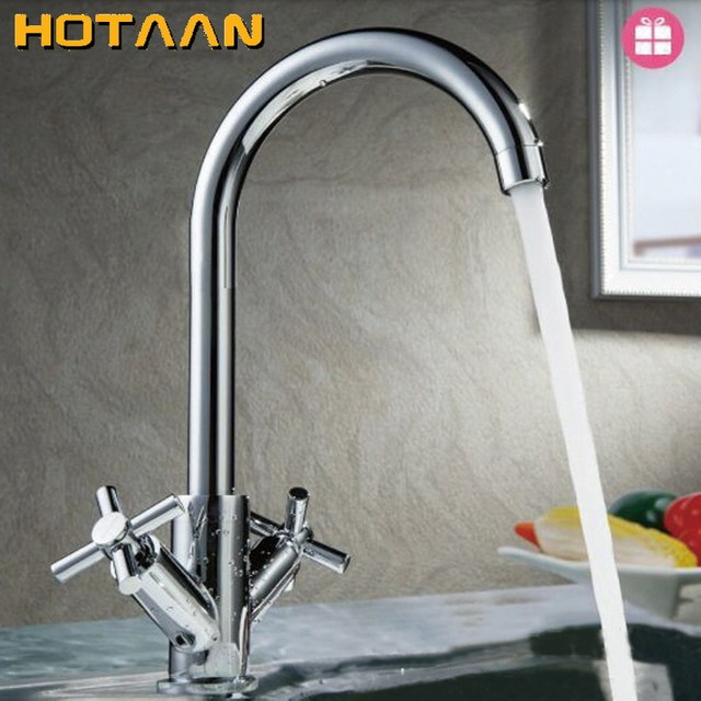 HOTAAN Dual handle cold and hot water mixer tap kitchen sink tap ...