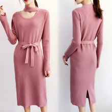 Hot! Warm Women Autumn Winter Sweater Knitted Dresses Slim Elastic Tie Waist Long Sleeve Sexy Lady Bodycon Robe Dresses New D211