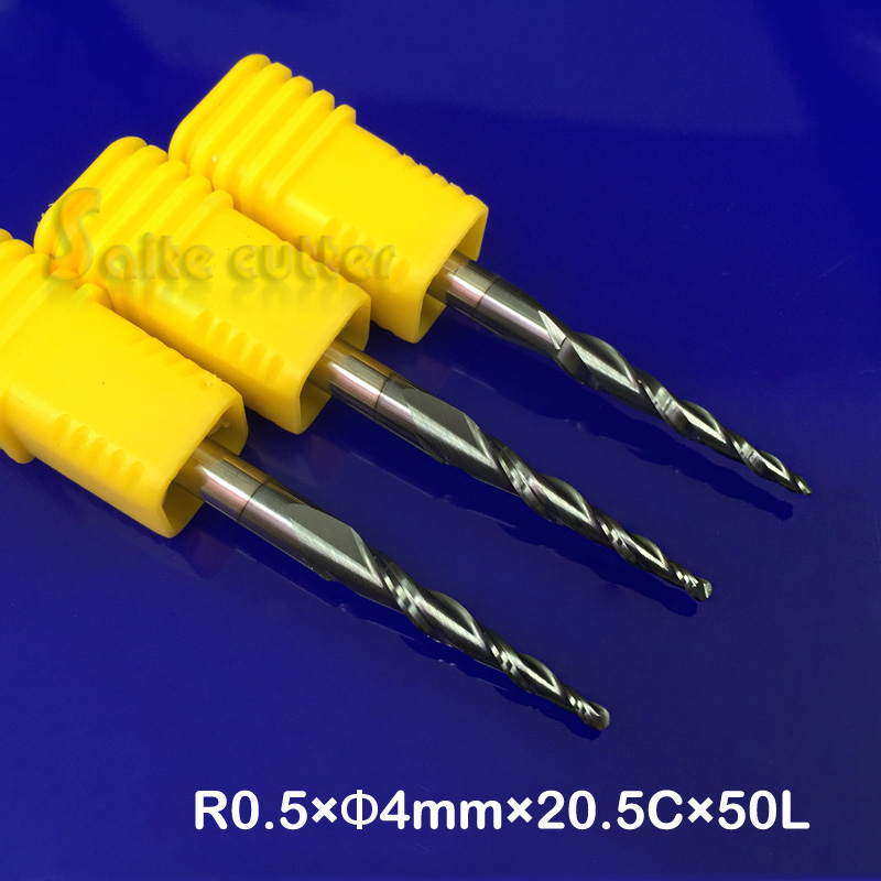 3pcs/lot R0.5*D4*20.5*50L*2F HRC55 solid Tungsten carbide NANO Coated Ball Nose Taper End Mill cone type cnc milling cutter tool
