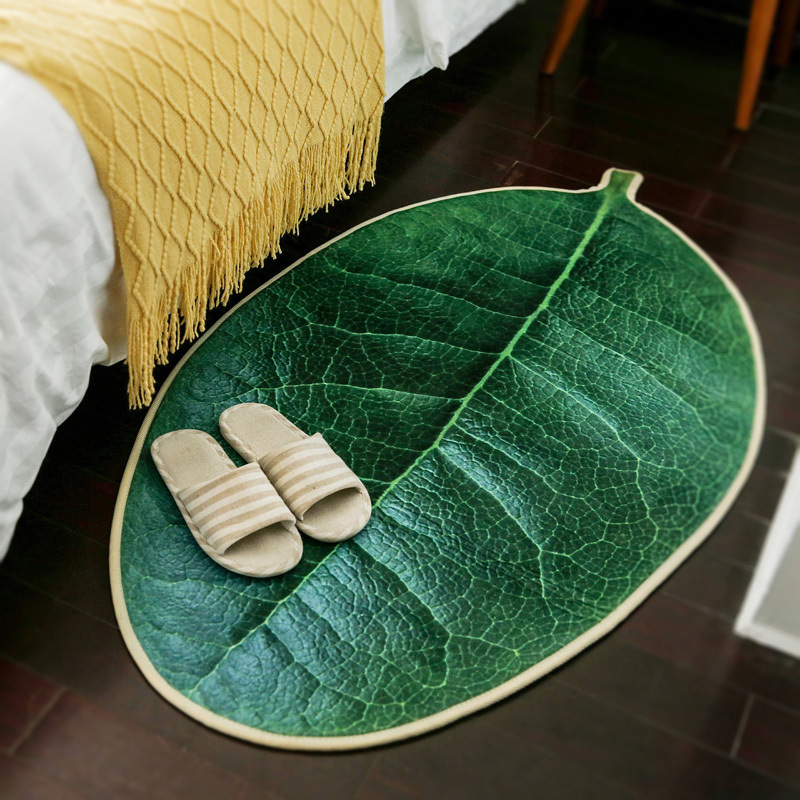 Creativity Life Green <font><b>3D</b></font> Leaf Print Carpet For Living Room Bedroom Vibrant Home Decorate Mat Floor Area Rug for Bedroom <font><b>tapete</b></font> image