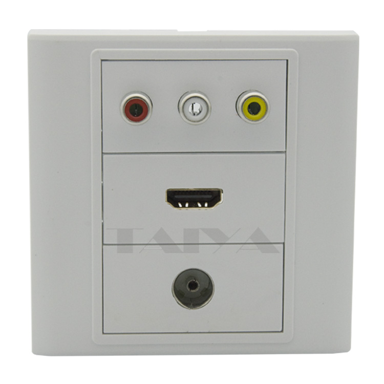 3RCA AV, hdmi and TV wall plate with back side screw connectors
