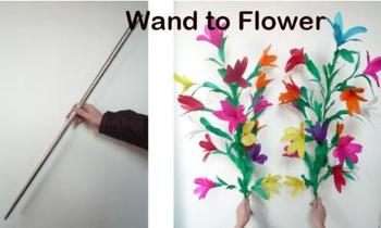 Free shipping Wand into Two Bunches of Flowers Stage Magic Tricks Flower Appearing Magic Props Comedy Party Trick Classic Magia