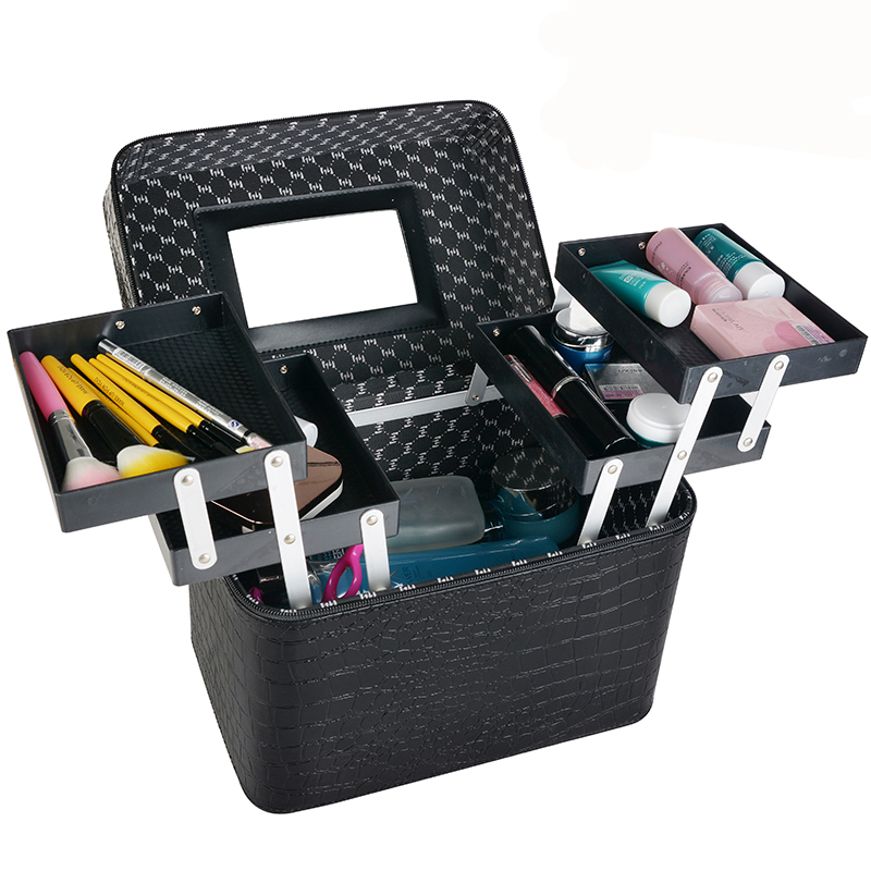 New 2017 Women Professional Makeup Cases PU Leather Make Up Box Big Capacity Cosmetic Bags Cases Quality Organizer Beauty Bags