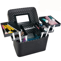New 2017 Women Professional Makeup Cases PU Leather Make Up Box Big Capacity Cosmetic Bags Cases