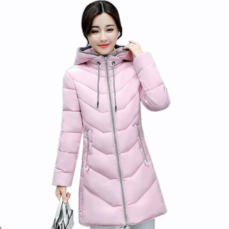 2017 European Style New Winter Female Cotton Jacket Long Thicken slim Coat Casual Warm Women Hooded Parkas pink Overcoat QH0457 women winter coat leisure big yards hooded fur collar jacket thick warm cotton parkas new style female students overcoat ok238