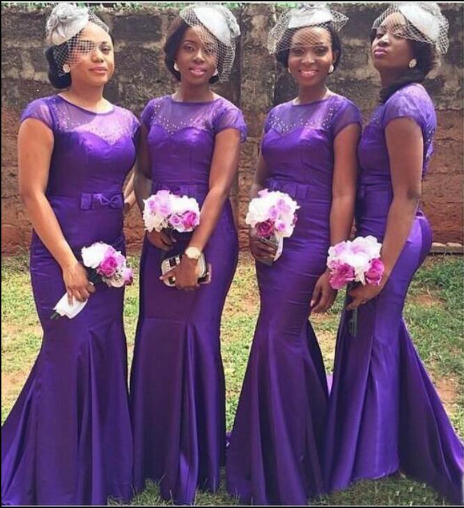 Purple Mermaid Long Bridesmaid Dresses With Short Sleeves Sheer Top ...