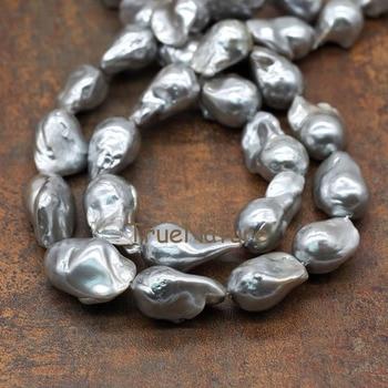 ee57c173c83c Venta al por mayor de perlas naturales de agua dulce perlas gris oscuro  Irregular perlas completa