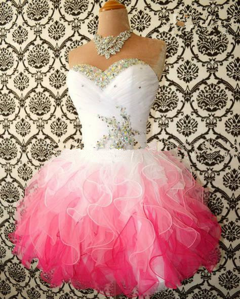 2018 New Multi Color White and Pink Short Homecoming gown Sweetheart Ball Tulle Shiny Beaded Party prom   bridesmaid     dresses