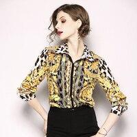 Women floral leopard print long sleeve casual work blouse short elegant Office single breasted tunr down collar chiffon shirt