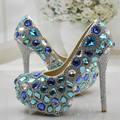 Wedding Shoes Women Pumps Blue Crystal Rhinestone High Heels Shoes Woman Elegant Thin Heels Bridal Shoes Diamond Party Shoes