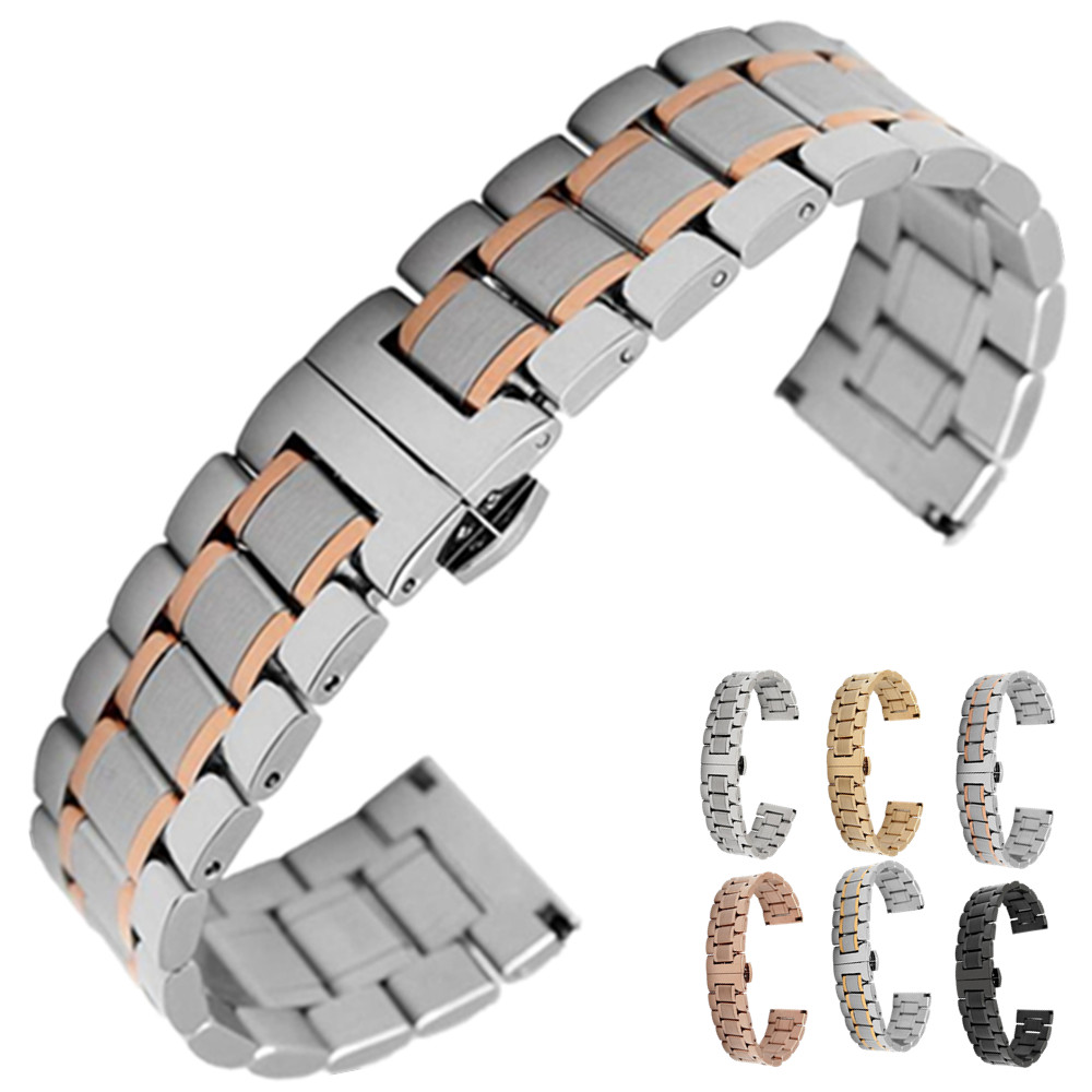 Responsible Stainless Steel Watchband Curved End Strap For Montblanc Men Women Watch Band Butterfly Clasp Wrist Bracelet 18mm 20mm 22mm 24mm Watches Watchbands
