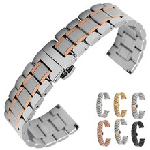 14 16mm 18mm 19mm 20mm 21mm 22mm 23mm 24mm Stainless Steel Watch band Strap Bracelet Watchband Wristband Butterfly Buckle Clasp