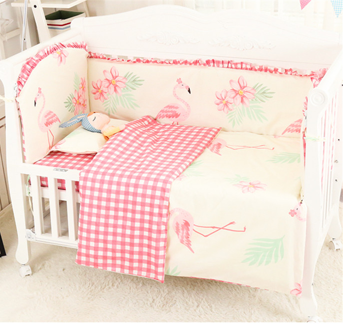 Promotion! 6/9 pièces Flamingo pépinière literie rose couleur lit bébé ensemble de literie pour nouveau-né bébé fille garçon