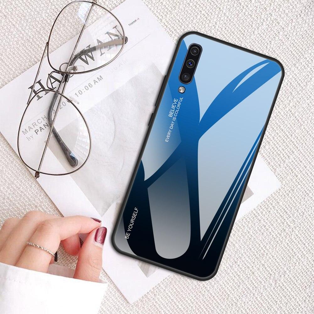 Case For Samsung Galaxy A50 A30 M20 M10 M30 A70 A60 Gradient Tempered Glass Case For Galaxy A6 A7 A750 A8 2018 Glass Case Cover