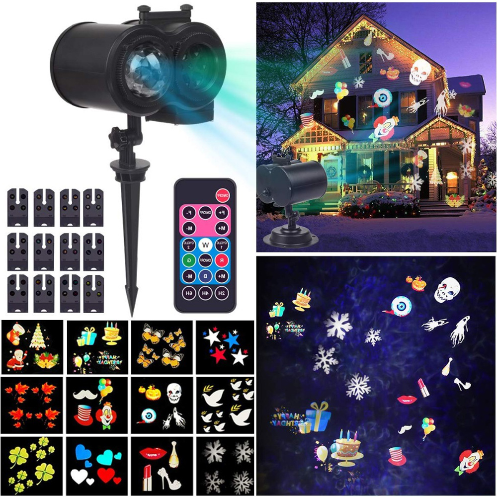 Christmas Decoration For Home Waterproof Led Wave Landscape Lighting Xmas Lights Outdoor Indoor 16 Types Snowflake Projector