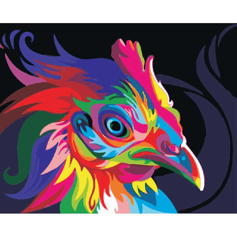 Framed Pictures Painting By Numbers DIY Oil Painting On Canvas Home Decor Canvas Wall Paintings Animal Abstract Color Chicken