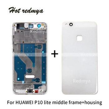 0b7a2aa59ec Marco medio de vivienda para Huawei P10 Lite de vidrio tapa de la batería + Medio  bisel marco frontal placa trasera chasis de partes