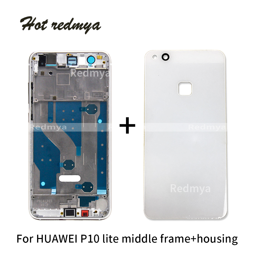 Middle Frame Housing For Huawei P10 Lite Glass Back Battery Covermiddle Bezel Front Frame Rear Plate Chassis Replacement Parts